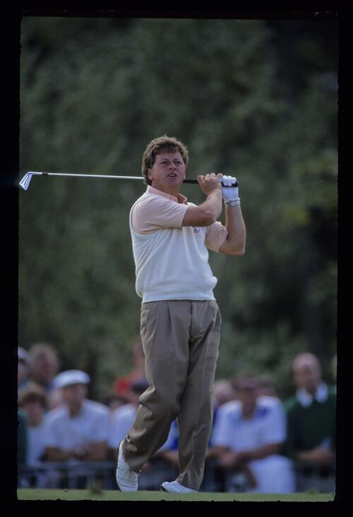 Welshman Ian Woosnam tees off at the Ryder Cup