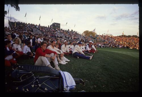 American players are among the spectators at the 1989 Ryder Cup Match