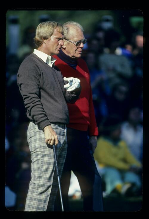 President Gerald Ford gets advice from golfer Jack Nicklaus at the Bing Crosby Pro-Am Golf Championship