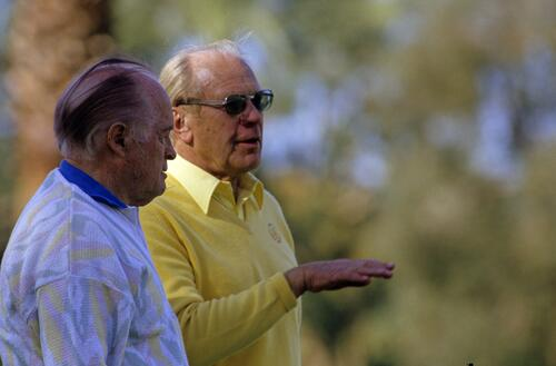 Actor Bob Hope and President Gerald Ford together at the 1987 Bob Hope Chrysler Classic Golf Championship