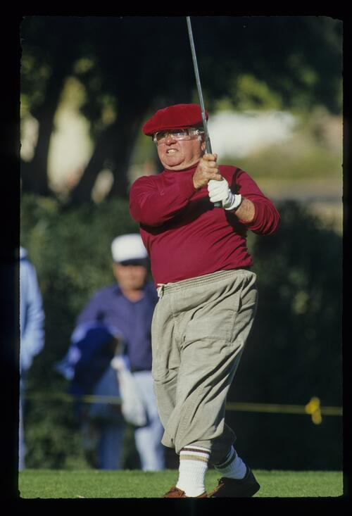 Actor Mickey Rooney tees off at the 1987 Bob Hope Chrysler Classic Golf Championship