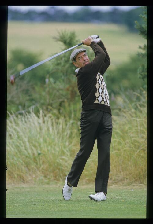Bob Torrance on the tee at the 1982 Open Championship at Royal Troon