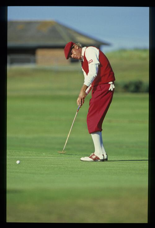Golfer Payne Stewart rolls his putt at the 1984 Open Championship at St Andrews