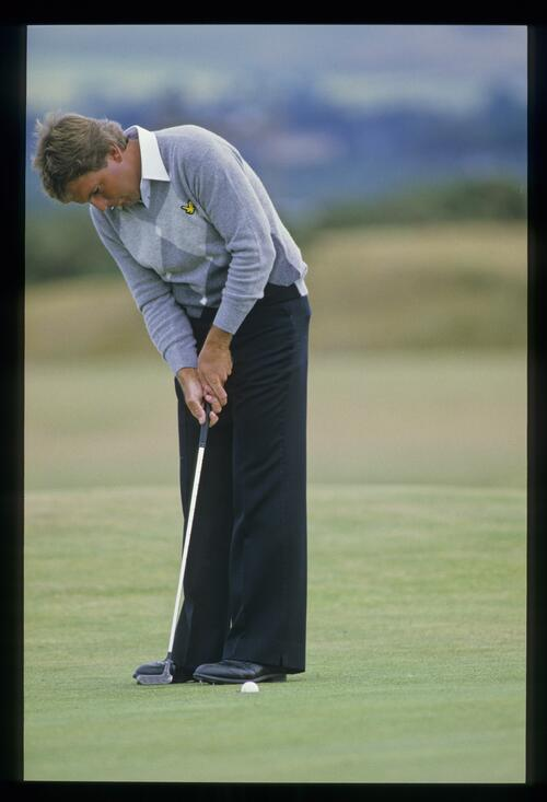 American golfer Lanny Wadkins holes this short putt at the 1984 OPpn Championship at St Andrews