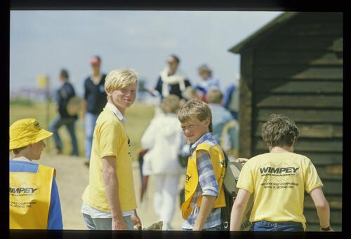Happy young volunteers at the 1985 Open Championship