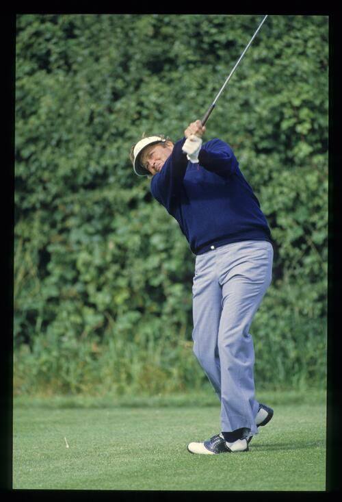 American ray Floyd tees off at The Belfry for the 1985 Ruyder Cup Match