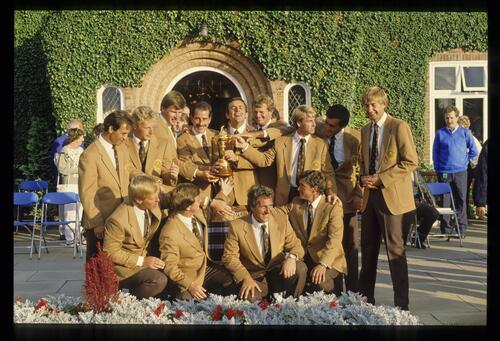 The winning European team enjoy the Ryder Cup after their stunning victory at The Belfry