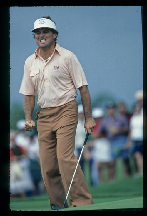 American Lanny Wadkins grimmaces as his putt misses the hole at the 1983 Ryder Cup at the PGA National