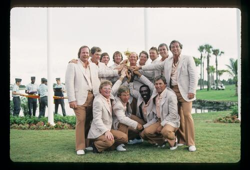 A victorious United States team with the Ryder Cup