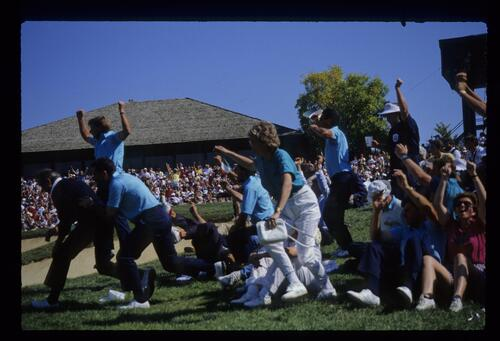 The 1987 European Ryder Cup team and fans celebrate a victory at Muirfield Village