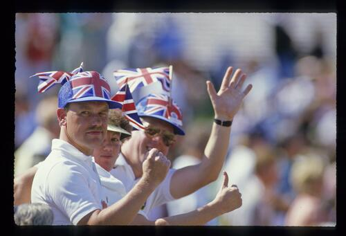 British fans show their support of the 1987 European Ryder Cup team at Muirfield Village