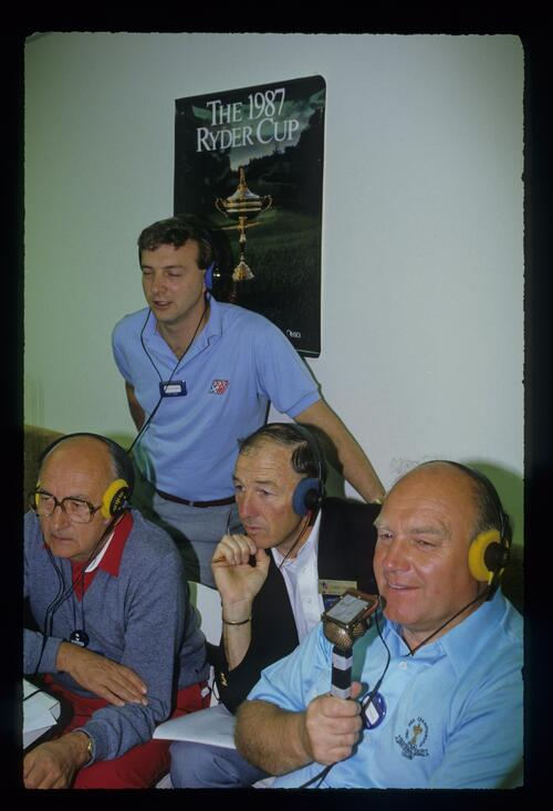 Sportscasters and officials watch the action closely at the 1987 Ryder Cup