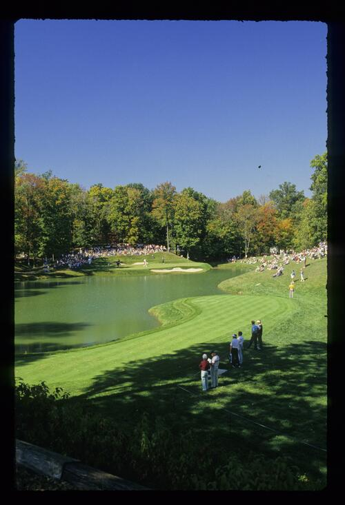 A scenic view of the 12th hole at Muirfield Village during play of the 1987 Ryder Cup
