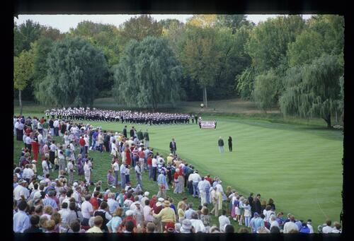 The Ohio State University Marching Band open the ceremonies at the 1987 Ryder Cup at Muirfield Village