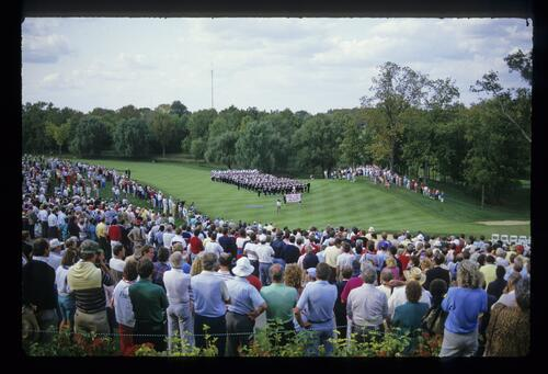 The Ohio State University Marching Band lead the ceremonies at the 1987 Ryder Cup