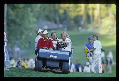 Team captain Jack Nicklaus and team members follow the action at the 1987 Ryder Cup