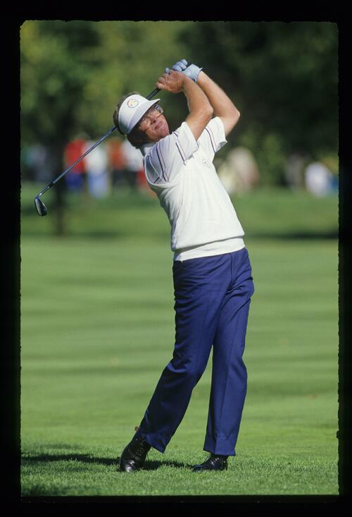 American golfer Tom Kite shows great form at the 1987 Ryder Cup at Muirfield Village