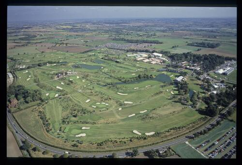 An aerial view of The Belfry and surrounding landscape at the 1989 Ryder Cup