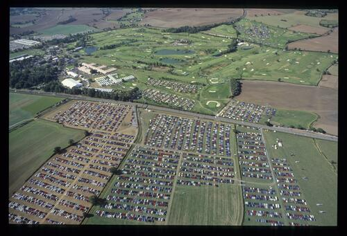 An aerial view showing the crowds at the 1989 Ryder Cup at The Belfry