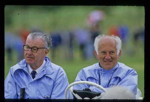 Two officials enjoy the action at the 1985 Ryder Cup at The Belfry