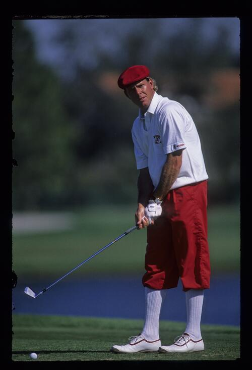 American golfer Payne Stewart on the tee at the par-3 at the Bay Hill Nestle Invitational Golf Championship