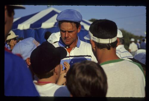 Popular golfer Payne Stewart takes time to sign autographs at the 1990 Nestle Invitational at Bay Hill