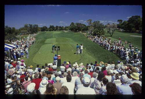 A scenic view of teeing off on the 1st hole at the 1990 Nestle Invitational at Bay Hill
