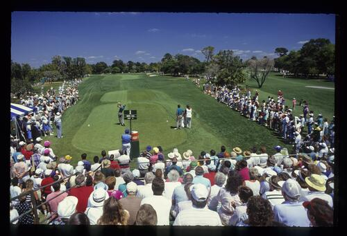 Teeing off on the 1st hole at the 1990 Nestle Invitational at Bay Hill