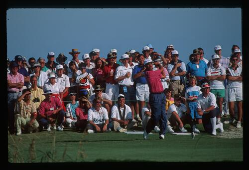 Golfer Mark James on the tee for Europe at the 1991 Ryder Cup Match