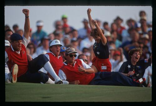 American players and wives celebrate a match victory at the 1991 Ryder Cup at Kiawah Island