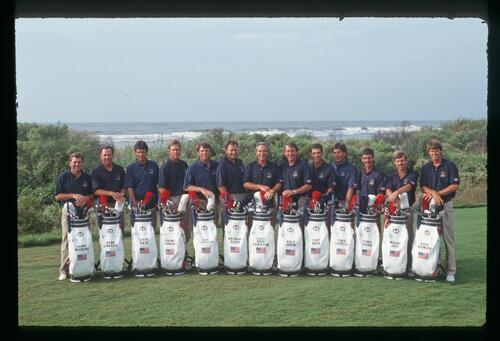 The 1991 American Ryder Cup team with golf bags