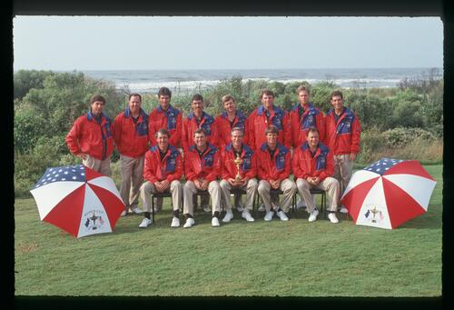 The 1991 American Ryder Cup team in raingear at Kiawah Island