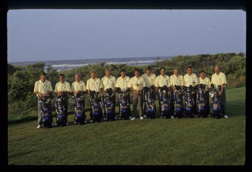 The 1991 European Ryder Cup Team with golf bags