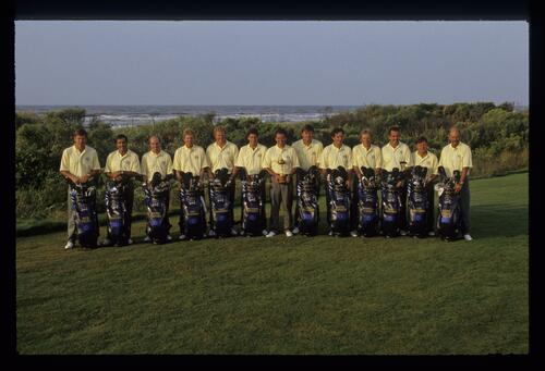 The 1991 European Ryder Cup team by the shore of Kiawah Island