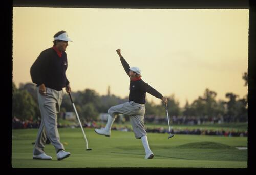American Payne Stewart holes his forty foot putt on 15 on the way to a 2 and 1 victory over Jose Maria Olazabal and Joakim Haeggman at the 1993 Ryder Cup