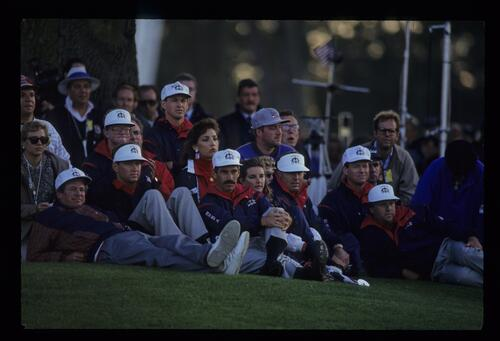 The American players follow the action of fellow teammates at the 1993 Ryder Cup