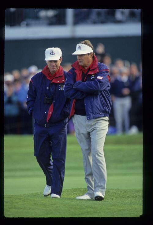 American team captain Tom Watson and player Ray Floyd discuss tactics at the 1993 Ryder Cup
