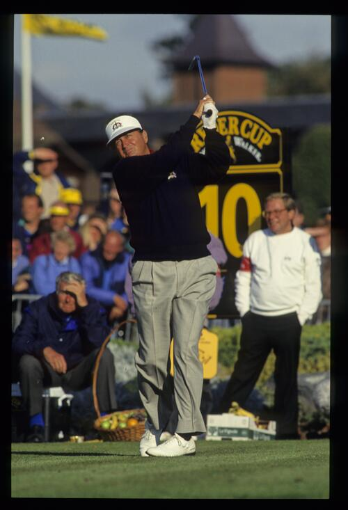 American player Ray Floyd on the tee of the short par-4 10th hole at the 1993 Ryder Cup