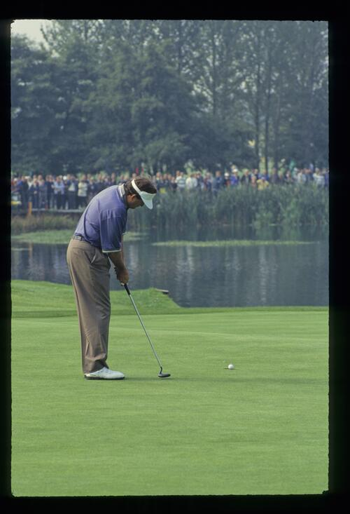 American Ray Floyd holes his putt at the 1993 Ryder Cup