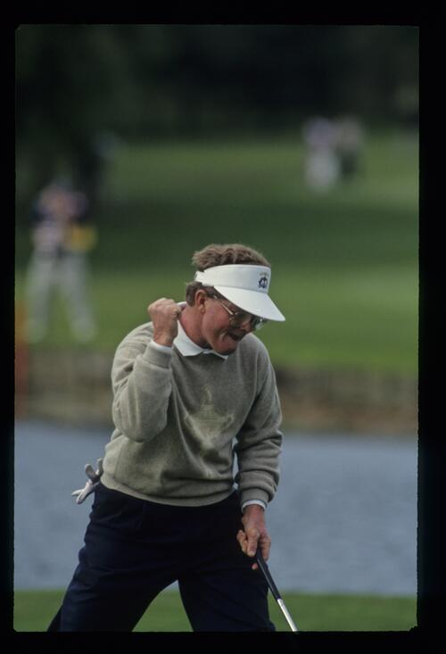 American Tom Kite reacts as he holes his putt on his way to an unbeaten record in the singles matches in the Ryder Cup