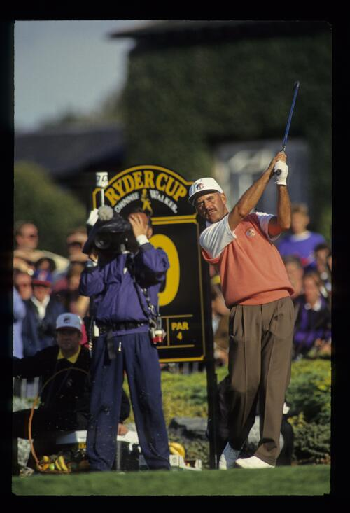 Europe's Mark James tees off on the short par-4 10th hole at the 1993 Ryder Cup