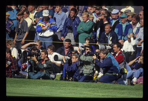 Press photographers follow the action at the 1993 Ryder Cup