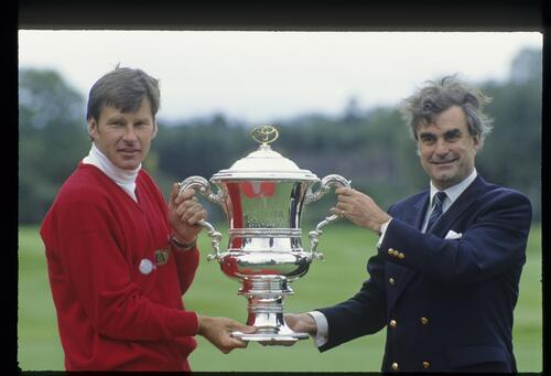 Nick Faldo with the 1992 Toyota World Matchplay trophy