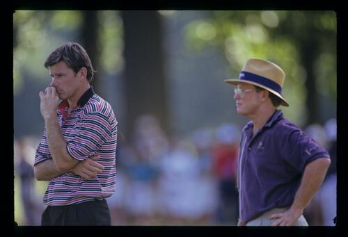 Nick Faldo and Tom Kite deep in thought during the 1993 US Open