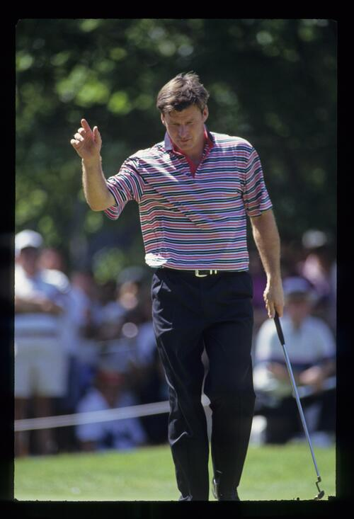 Nick Faldo acknowledging the crowd during the 1993 US Open