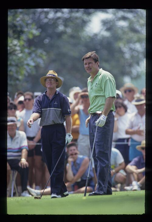 Nick Faldo and Tom Kite on the tee during the 1993 US Open