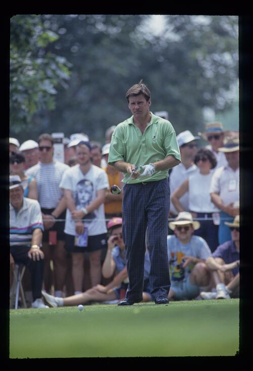 Nick Faldo about to drive during the 1993 US Open
