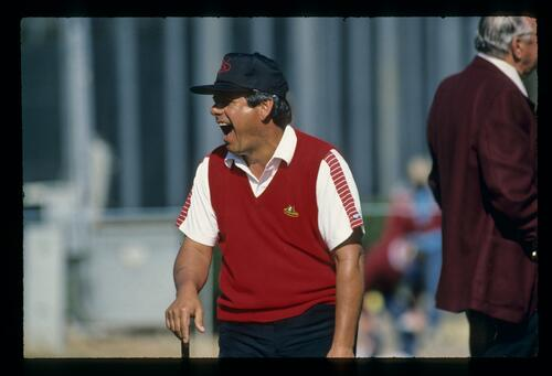Lee Trevino in typical pose at the 1984 Phoenix Open