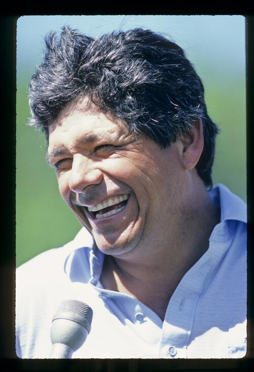Lee Trevino in typically happy mood during the 1984 Kapalua International