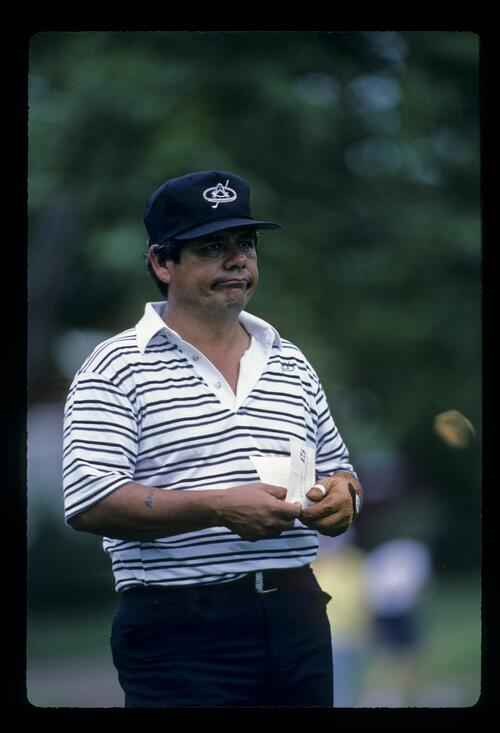 Lee Trevino pulling a face during the 1984 Kapalua International